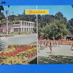 Carte postala vedere BUZIAS colaj COMPLEX PARC. STRANDUL judetul TIMIS CIRCULATA 1975 (tm 095 - Carte Postala Banat dupa 1918