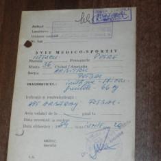 Act vechi AVIZ MEDICO-SPORTIV PENTRU ARBITRU FOTBAL 1984
