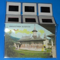 MAPA SET 6 DIAPOZITIVE MANASTIREA SUCEVITA. vintage - (01127