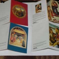 Lot 4 felicitari circulate UNICEF. ARTA PICTURA RELIGIOASA SCOALA ITALIANA - Carte postala tematica, Circulata, Printata