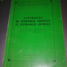 EXPERIENTE DE FIZIOLOGIE VEGETALA SI ANIMALA, Alta editura
