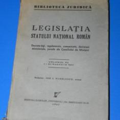 LEGISLATIA STATULUI NATIONAL ROMAN VOL 15/ 1-30 NOIEMBRIE 1941 - Carte Legislatie