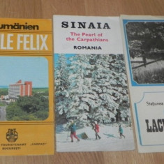 De colectie. LOT 3 PLIANTE - SINAIA. BAILE FELIX, LACUL ROSU