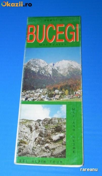 HARTA TURISTICA muntii BUCEGI 1998 . TEXT LIMBA ENGLEZA. muntii carpati foto mare