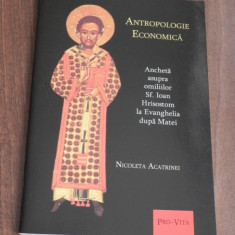 NICOLETA ACATRINEI - ANTROPOLOGIE ECONOMICA. ANCHETA ASUPRA OMILIILOR SF IOAN HRISOSTOM LA EVANGHELIA DUPA MATEI - Carte folclor