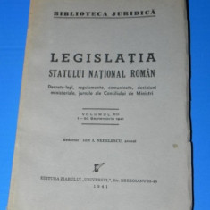 LEGISLATIA STATULUI NATIONAL ROMAN VOL13/ 1-30 ISEPTEMBRIE 1941 - Carte Legislatie