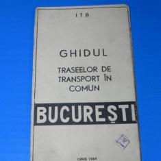 Ghidul TRASEELOR DE TRANSPORT IN COMUN BUCURESTI IUNIE 1966. itb - Harta Turistica