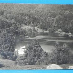 Carte postala / fotografie veche BAILE SOVATA - LACUL URSU. INTERBELICA. CIRCULATA (v039 - Carte Postala Transilvania dupa 1918