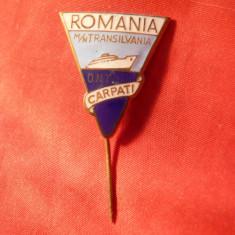 Insigna Motonava Transilvania - Turism, metal si email, h= 2, 6 cm
