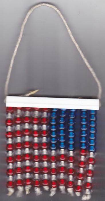 Steag America, USA, realizat din bilute de plastic, dimensiunea 10x9 cm foto mare