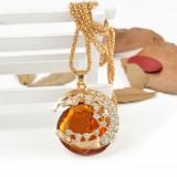 Pandantiv / Colier / Lantisor  - Vampire Diaries Champagne Crystal Crescent Star