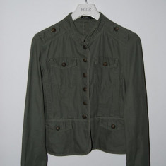 Jeaca b.young, culoare verde- kaki, stil militar, marime M/38, bumbac 100% - Jacheta dama, Marime: M, Culoare: Din imagine
