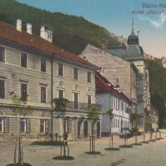 BAILE HERCULANE, HOTEL DACIA SI COM. PIETII - Carte Postala Banat dupa 1918, Necirculata, Printata