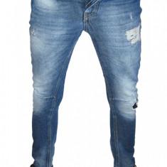 Blugi Conici ZARA - (MARIME: 25) - Talie = 71 CM / Lungime = 102 CM - Blugi barbati Zara, Culoare: Albastru, Cu rupturi, Skinny, Normal