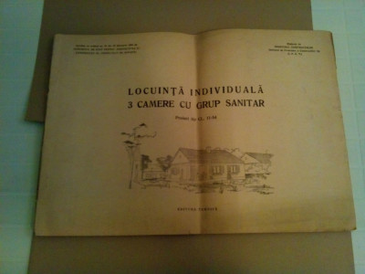 LOCUINTA INDIVIDUALA 3 CAMERE CU GROUP SANITAR * Proiect Tip CL. 11-54 - 1956 foto