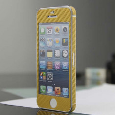 Colant sticker model carbon auriu gold iphone 5 + folie protectie ecran