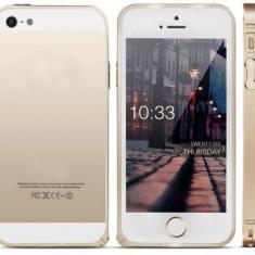Bumper auriu aluminiu Iphone 5 5G + folie protectie ecran - Bumper Telefon