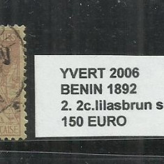 BENIN 1892 - 2.2C STAMPILAT, Brazilia