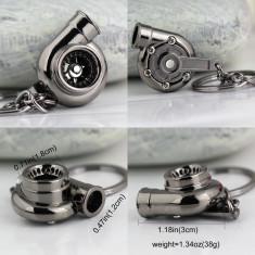 Breloc turbina metal argintiu foarte inchis - negru + cutie simpla cadou - Breloc Auto