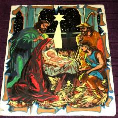 Icoana din anii 1960 pictata pe placaj, Nasterea Mantuitorului, Pruncul Luminos - Icoana pe lemn
