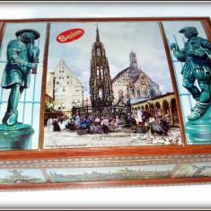 Cutie litografiata din tabla Nurnberg - Germania L=37 x 26, 5cm ; H = 15, 5cm - Cutie Reclama