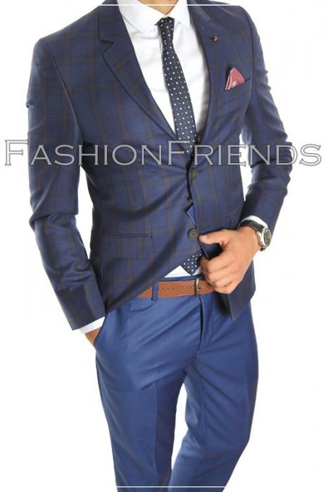 Costum tip ZARA - sacou + pantaloni - costum barbati casual office  - 5004 foto mare