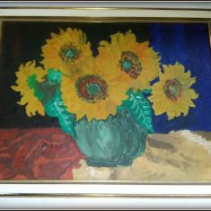 Tablou - ulei pe carton Vaza cu Floarea Soarelui - amator - Tablou autor neidentificat, An: 1970, Flori, Realism