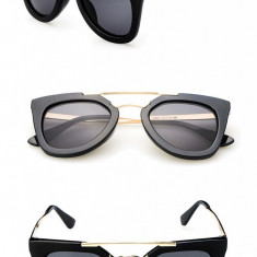 Ochelari soare dama model DESIGNER FASHION2015 CAT EYE lentila gri detalii aurii, Femei