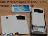 Husa Piele Ecologica Tip Carte Pentru Vodfon Smart Prime 6 Alb, Cu clapeta, Vodafone