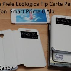 Husa Piele Ecologica Tip Carte Pentru Vodfon Smart Prime 6 Alb - Husa Telefon Vodafone