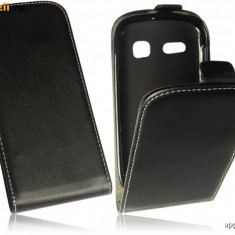 Husa Alcatel One Touch Pop C3 OT-4033D Flip Case Inchidere Magnetica Black - Husa Telefon Alcatel, Universala, Negru, Piele Ecologica, Cu clapeta, Toc