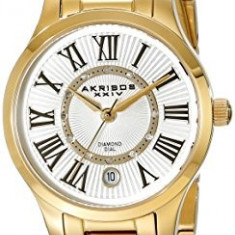 Akribos XXIV Women's AK570YG Lady Diamond-Accented | 100% original, import SUA, 10 zile lucratoare af22508 - Ceas dama Akribos, Casual, Quartz, Analog