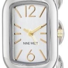 Nine West Women's NW 1573SVTT Curved | 100% original, import SUA, 10 zile lucratoare af22508 - Ceas dama Nine West, Casual, Quartz, Analog