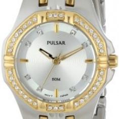 Pulsar Women's PTC388 Crystal Accented Two-Tone | 100% original, import SUA, 10 zile lucratoare af22508 - Ceas dama Pulsar, Elegant, Quartz, Analog