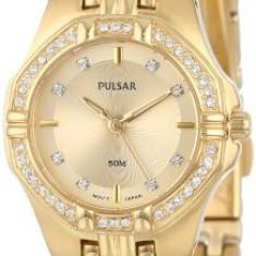 Pulsar Women's PTC390 Crystal Accented Gold-Tone | 100% original, import SUA, 10 zile lucratoare af22508 - Ceas dama Pulsar, Elegant, Quartz, Analog