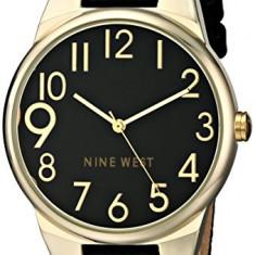 Nine West Women's NW 1652BKBK Gold-Tone | 100% original, import SUA, 10 zile lucratoare af22508 - Ceas dama Nine West, Casual, Quartz, Analog