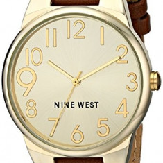 Nine West Women's NW 1652CHBN Gold-Tone | 100% original, import SUA, 10 zile lucratoare af22508 - Ceas dama Nine West, Casual, Quartz, Analog