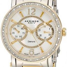 Akribos XXIV Women's AKR472YG Lady Diamond | 100% original, import SUA, 10 zile lucratoare af22508 - Ceas dama Akribos, Casual, Quartz, Analog