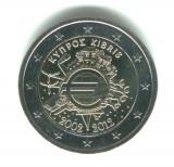 CIPRU 2 euro comemorativa 2012 TYE - 10 ani euro, UNC