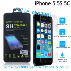 Folie sticla iPhone 5 5S 5C SUPER PREMIUM transparenta securizata temperata 0.26 - Folie de protectie Apple, Anti zgariere