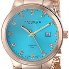 Akribos XXIV Women's AK759YGTQ Lady Diamond-Accented | 100% original, import SUA, 10 zile lucratoare af22508, Casual, Quartz, Analog