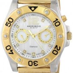 Akribos XXIV Women's AK553YG Diamond Gold-Tone | 100% original, import SUA, 10 zile lucratoare af22508 - Ceas dama Akribos, Casual, Quartz, Analog