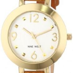 Nine West Women's NW 1498SVBN Gold-Tone | 100% original, import SUA, 10 zile lucratoare af22508 - Ceas dama Nine West, Casual, Quartz, Analog