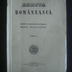 REVISTA ARHIVA ROMANEASCA TOMUL X {1945-1946} - Carte veche