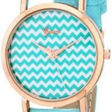 Geneva Women's 2429A-GEN Blue-and-White Chevron-Stripe Watch | 100% original, import SUA, 10 zile lucratoare af22508