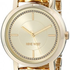 Nine West Women's NW 1642CHGB Gold-Tone | 100% original, import SUA, 10 zile lucratoare af22508 - Ceas dama Nine West, Analog