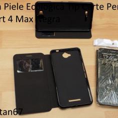 Husa Piele Ecologica Tip Carte Pentru Smart 4 Max Negra - Husa Telefon Vodafone, Negru