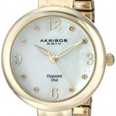 Akribos XXIV Women's AK765YG Impeccable Gold-Tone | 100% original, import SUA, 10 zile lucratoare af22508, Casual, Quartz, Analog