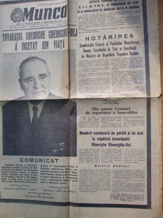 Munca 20 martie 1965 moartea Gheorghiu - Dej