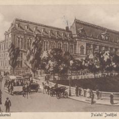 BUCURESTI PALATUL JUSTITIEI, TRASURI, TRAMVAI CU CAI, ANIMATA - Carte Postala Muntenia dupa 1918, Necirculata, Printata